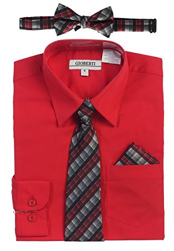 Gioberti Boy's Long Sleeve Dress Shirt and Plaid Tie Set, Red, Size 7