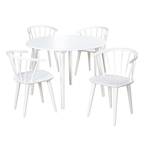 Target Marketing Systems Florence Collection Modern 5 Piece Sitting Chair Dining Set, One Round Table and Four Chairs, White (Table Florence Round Dining)