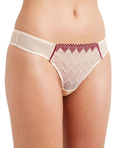 Embroidered Tanga Panty (Barbara 223631 Women's Totem Liana Beige Embroidered Knicker Gstring Tanga Small (Brand Size 2))