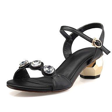 LvYuan Tacón Robusto-Zapatos del club-Sandalias-Oficina y Trabajo Vestido Fiesta y Noche-Cuero Microfibra-Negro Oro Gold