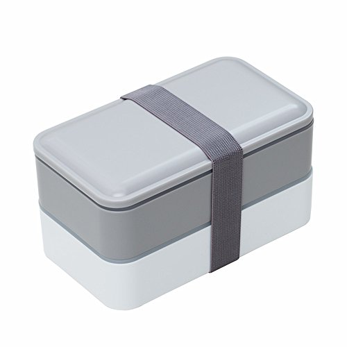 Bento box For Adults and Kids Japanese Lunch box Microwave Safe Stackable Portion Control with Cutlery Set GRAY