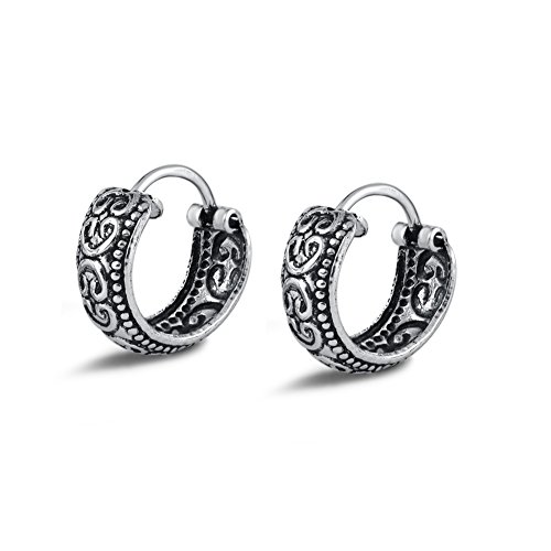 Agvana Sterling Silver Tribal Ornate Small Hoop Earrings for Women Girls Diameter 12.8mm
