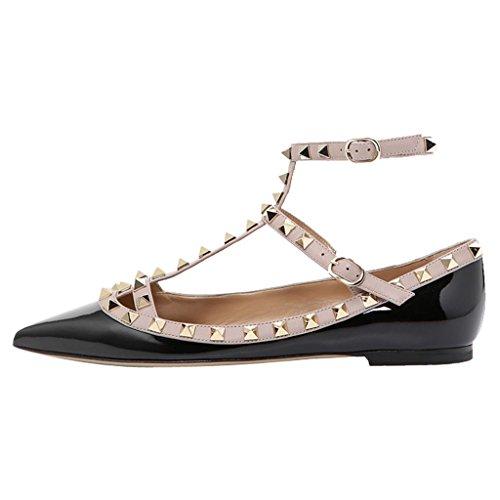 Comodo Da Donna A Punta Rockstud Flats Strappy Ballerina Nero-patent
