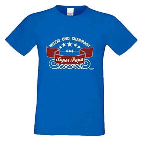 T-Shirt als Geschenk für den Vater - Witzig und Charmant - Ein Danke für den Super Papa mit Humor zum Vatertag oder einfach so, Größe L Farbe 06-Royalblau