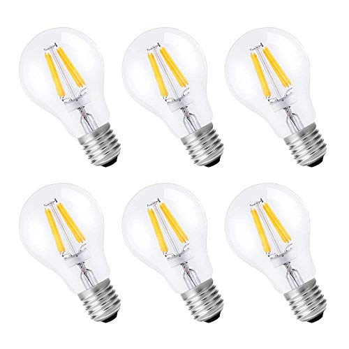 KEDSUM 6W A19 Dimmable Vintage Edison Led Bulb, 60W Incandescent Equivalent 2700K Warm White, 500LM Filament Light Bulbs for Pendant Lighting Chandeliers Ceiling Fan, Pack of 6