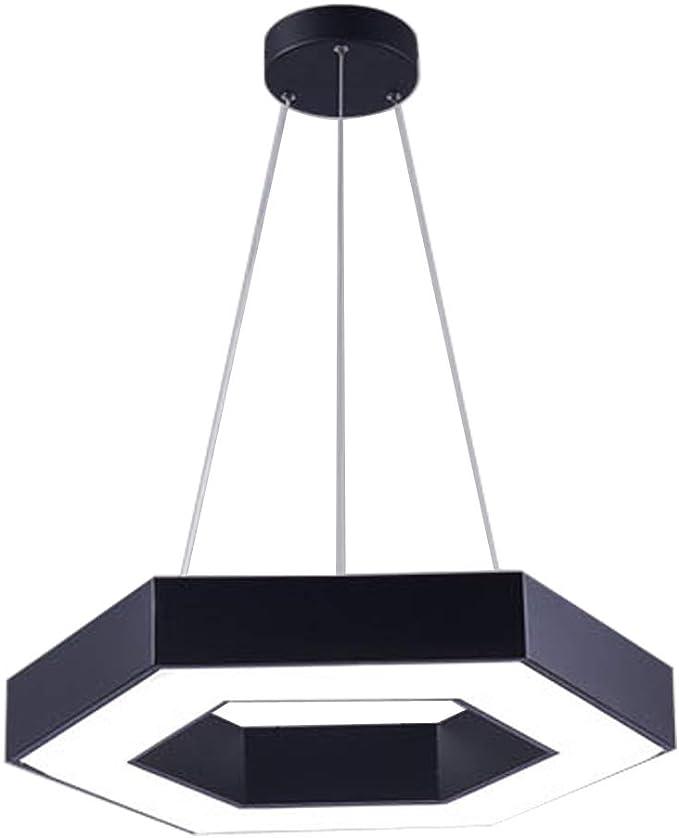 Lámpara colgante LED de oficina Lámpara de techo hexagonal regulable Lámpara colgante moderna creativa hueca para restaurante Sala de reuniones Estudio Gimnasio Centro comercial Taller (60CM): Amazon.es: Iluminación