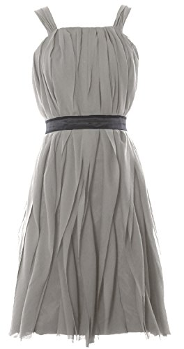 MACloth Women Short Bridesmaid Dress Straps Chiffon Cocktail Party Formal Gown Plateado