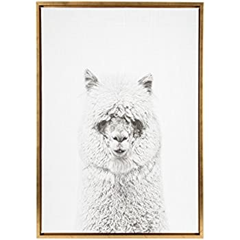 Kate and Laurel Sylvie Hairy Alpaca Black and White Portrait Gold Framed Canvas Wall Art by Simon Te Tai