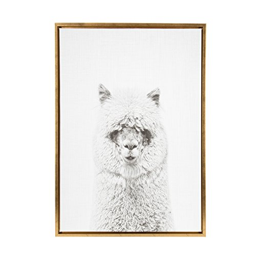 Kate and Laurel Sylvie Hairy Alpaca Black and White Portrait Gold Framed Canvas Wall Art by Simon Te - Gold Framed