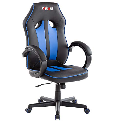 XPELKYS Gaming Chair Computer Gmaing Chair Video Game Chair Ergonomic Chair High Back PU Leather Swivel Chair Racing Chair Computer Gaming Chair for Students in Home & Office(Black & Red)
