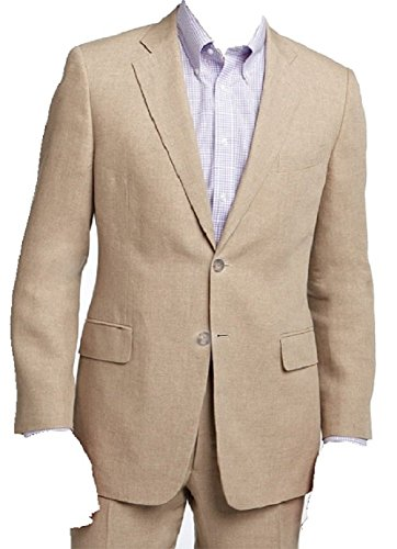 Men's Two Piece Linen Summer Suit (Beige) (46L) (Summer Linen Suit)