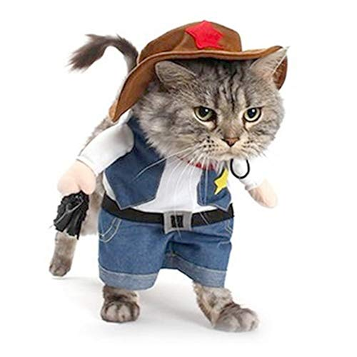 Pet Costume Cowboy Halloween (Meihejia Halloween Costume for Cat and Small Dog, Funny Cowboy Jacket and Hat Suit - L)
