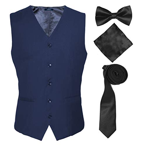 Leisure Suit Vest and Tie for Men on Office Wedding Party Work Hotel Kitchen,Blue,2XL