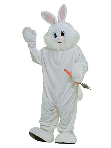 Forum Deluxe Plush Bunny Rabbit Mascot Costume, White, One -