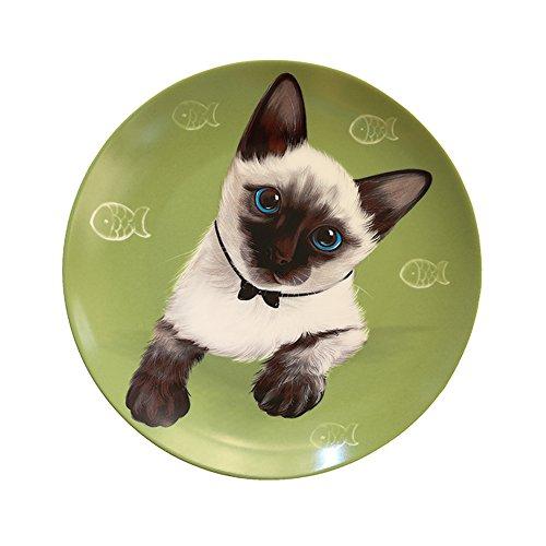 CHOOLD Original Cartoon Cat Ceramic Dinner Plate Salad Plate/Dessert Plate/Steak Plate,Funny Plate with Pet Print 8''(Siamese cat)