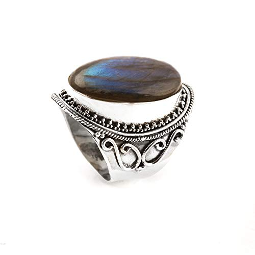 - Blue Flashy Labradorite Ring 925 Sterling Silver Blue Flash Ring Intimate & Charm Ring Fantastical Ring signature Ring Fabulous Collection Statement Filigree Ring Gift Ideas US All Size Ring