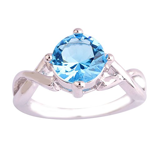 Empsoul Women's 925 Sterling Silver Natural Fancy Plated 2ct Blue Topaz Infinity Symbol Engagement Ring