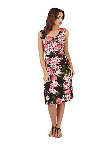 Pistachio Mujer Flores Sin Mangas plisada Midi Mujer grandes flores impresión vestido Negro