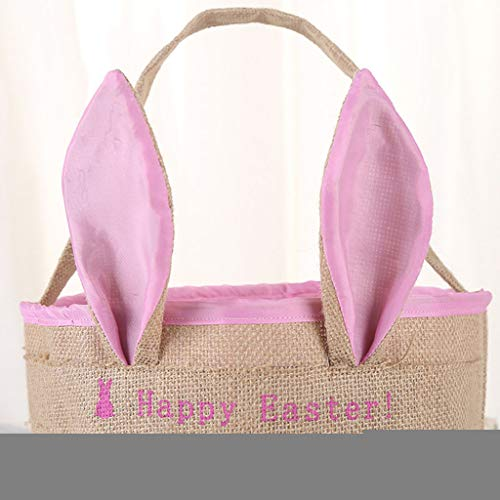 - HHmei Easter Egg Basket Holiday Rabbit Bunny Printed Canvas Gift Carry Eggs Candy Bag Linen Bunny Bag (Hot Pink)