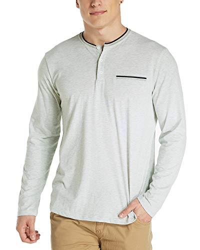 T V Modchok Haut Manches À Homme Col Coton Vintage Clair Pull Bouton 1 Gris Top Longues shirt 5yBqPSfcB