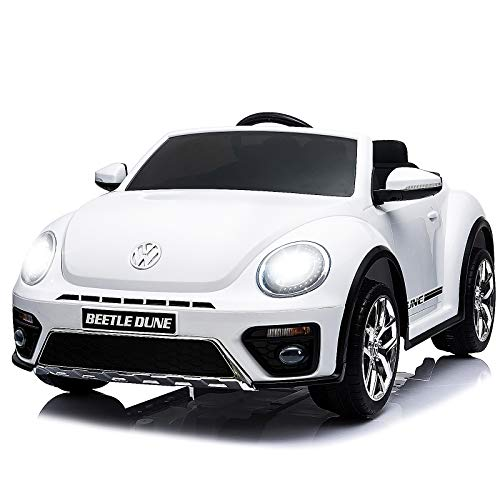 Uenjoy Volkswagen Beetle 12V Kids Electric Ride on Cars Battery Powered Motorized Vehicles, Remote Control, Music, Bluetooth, Suspension, DoubleDoor, White