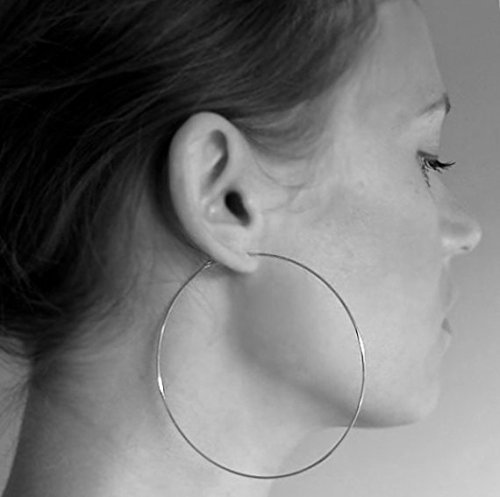 f4ebe2f1f Sterling Silver Hoop Earrings - Extra Large 3 inch Thin Hoops - Elegant  Jewelry - Fashion XL Earrings - Lightweight Hoops. Fashion Earrings -  Everyday Hoops ...