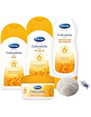 Bübchen Calendula Babyverzorgingsset 4-delige verzorgingsset met Konjac spons, 1-pack (4 producten)