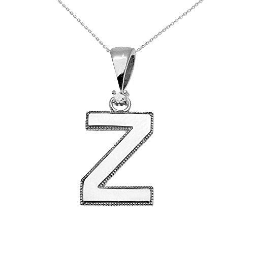 """Collier Femme Pendentif 14 Ct Or Blanc Poli Élevé Milgrain Solitaire Diamant """"Z"""" Initiale (Livré avec une 45cm Chaîne)"""