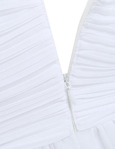 de Boda Fiesta Vestido Elegante Vestido Verano Largo Blanco para Tirantes de Mujer de Cóctel Freebily Dama Honor SfpqU