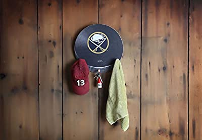 "NHL Hockey Puck Shaped Team Coat Rack with Three Pegs, 15"", Black"