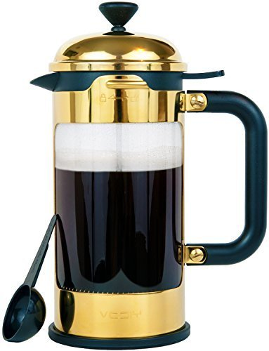 French Coffee Press - 8 Cup/4 Mug Stainless Steel Coffee & Tea Maker. 1 Liter | 34 Oz Coffee and Tea Pot With Heat Resistant Glass/Carafe. Patented Lid Locking System.