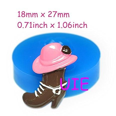 226lbf sombrero vaquero y vaquero para moldes de silicona flexible 27 mm - aire seco arcilla polimérica Sugarcraft Decoración de Pasteles Fondant Molde: ...