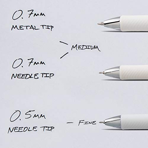Pentel EnerGel Pearl Retractable Liquid Gel Pen, 0.7mm Black/Blue/Violet Ink, 12 Pack (BL77W12C) by Pentel (Image #6)