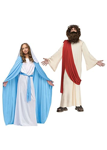 Girls Virgin Mary Costumes (Virgin Mary Girls and Jesus Boys Costume Set (Medium))