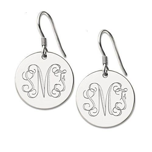 MissNity Personalized Monogram Earring White Gold Plated Sterling Silver Custom 3 Initials Disc Drop Earrings (Silver)