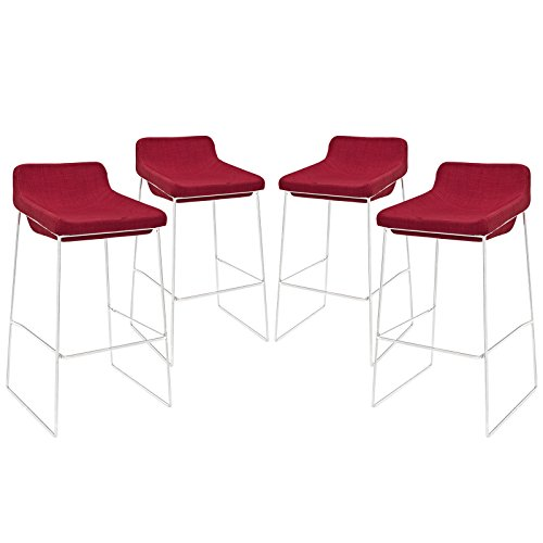 Modway EEI-1365-RED Garner Upholstered Fabric Bar Stool, Set of 4, Red