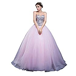 Strapless Sequin Bodice Long Tulle Party Dress