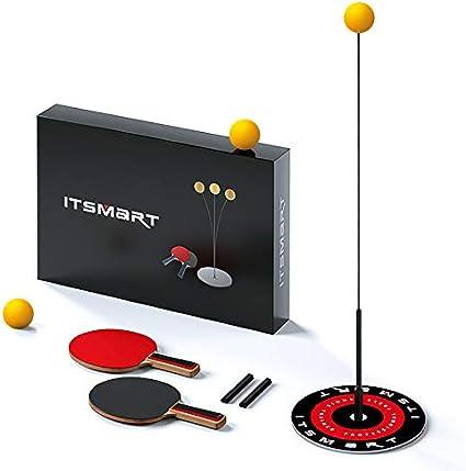 Kesntto - Varilla elástica de entrenamiento de tenis de mesa para tenis de mesa portátil, juego de ping--Pong portátil para jugar solo, 2 palas + 3 pelotas + 1 base)