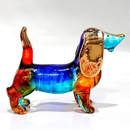 (Sansukjai Dachshund Miniature Figurines Dog Animals Hand Painted Blown Glass Art Gold Trim Collectible Gift Decorate, Blue Orange)