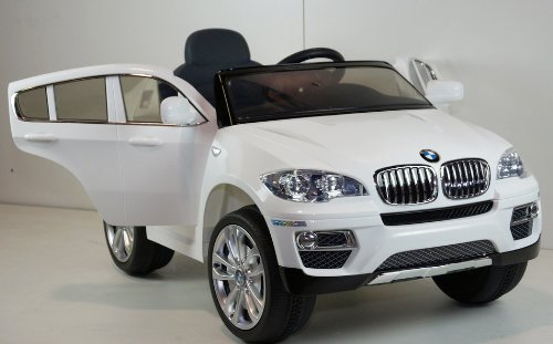 12v Ride on Car BMW X6 Series, Licensed Toy for Kids, Boys and Girls with Music, Opening Doors, Lights and Remote Control- White