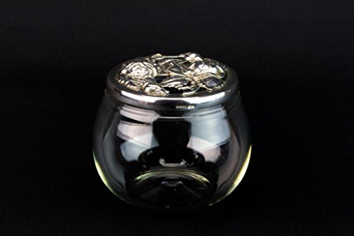 Sterling Silver & Glass Jar Pot Floral Small Globular Ari D Norman English 1991 Potpourri by Ari D Norman