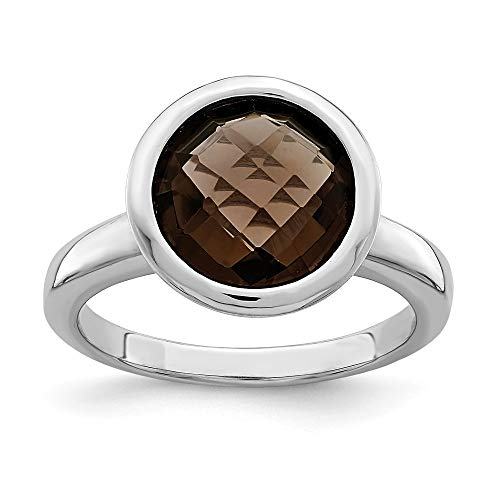 Gold Square Smokey Quartz - 925 Sterling Silver Smoky Quartz Band Ring Size 9.00 Gemstone Fine Jewelry Gifts For Women For Her
