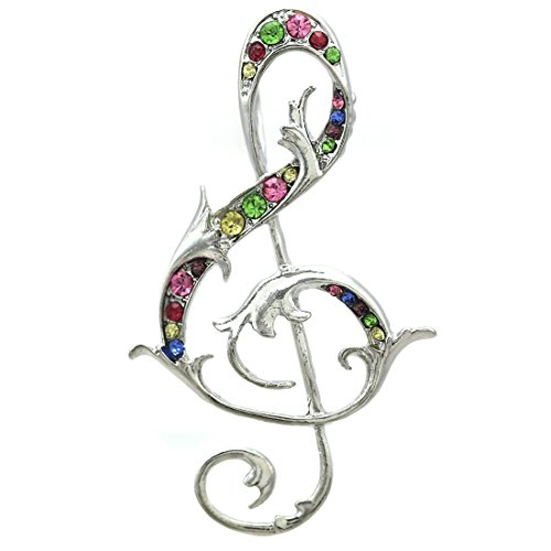 Soulbreezecollection Treble Clef Music Note Brooch Pin Clear Rhinestones Jewelry for Musicians -