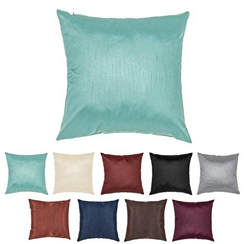 DreamHome 24 X 24 Inches Faux Silk Decorative Euro Pillow Cover/Sham (Lagoon) (Throw Pillow Groupings)