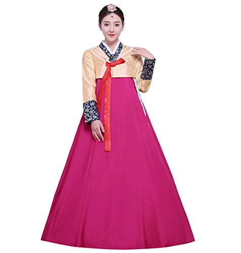 Traditional Korean Costume (Lemail wig Women's Korean Traditional Costume Ladies Long Sleeve Classic Hanbok Set)