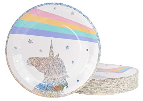Unicorn Plates - 80-Pack Disposable 9-Inch Round Plates for Cake, Appetizer, Lunch, Dessert, Unicorn Themed Birthday, Baby Shower Party Supplies, Glitter Unicorn Design