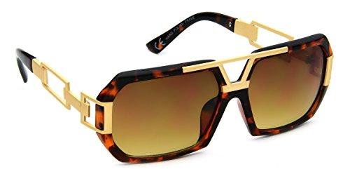 Futuristic Aviator Sunglasses Retro Flat Top Gold Metal Brown Tortoise Frame