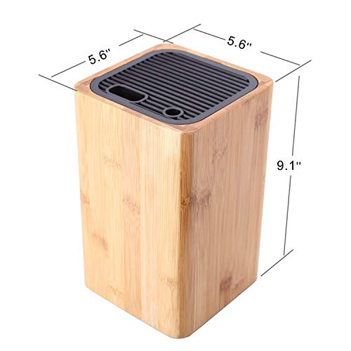 Deluxe Universal Knife Block with Slots for Scissors and Sharpening Rod - Eco-Friendly Bamboo Knife Holder For Safe, Space Saver Knives Storage - Unique Slot Design to Protect Blades - by KITCHENDAO by KITCHENDAO (Image #6)