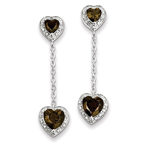 Sterling Silver Diamond Smoky Quartz Earrings by CoutureJewelers