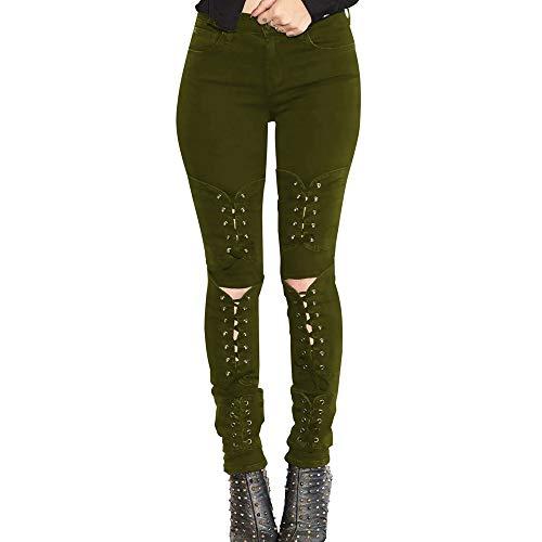Alta E Auto Da coltivazione Jeans Cravatte Donna Elasticità Damengxiang Nuove Mode Attillati Verde xzTwBvnAq0